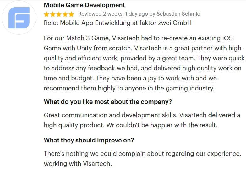 Visartech GoodFirms Review Mobile
